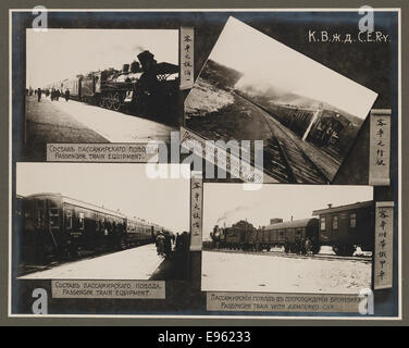 [Chinese Eastern Railway: Exterior Views of Passenger Trains] - Stock Photo