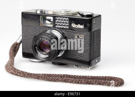 Analogue 35mm film camera, Rollei B 35, - Stock Photo