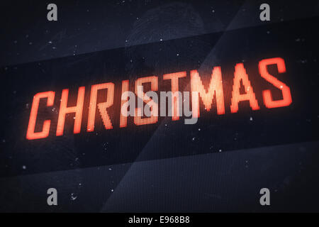 Christmas concept. Business, technology, internet and networking concept - CHRISTMAS text on virtual screens - Stock Photo