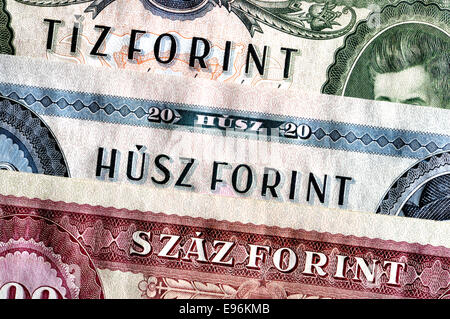 Detail from an old Hungarian banknote showing numbers in the Hungarian language - 10, 20 and 100 Forint - Stock Photo