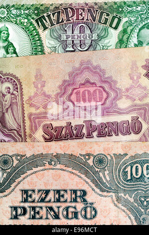 Detail from an old Hungarian banknote showing numbers in the Hungarian language - Stock Photo
