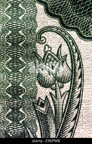 Detail from a 1936 10 Pengo Hungarian banknote showing detailed anti-forgery printing - Stock Photo