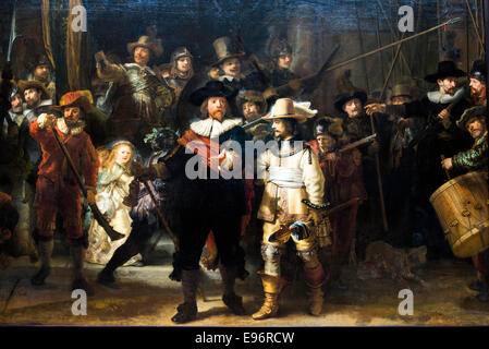 The Night Watch painting by Rembrandt at Rijksmuseum Amsterdam Holland Netherlands Europe - Stock Photo