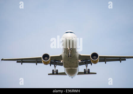 plane taking off at Barcelona airport - Stock Photo