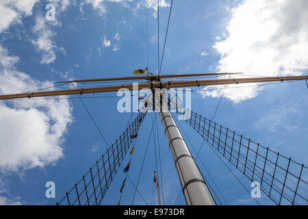 Main mast and rigging of the SS Great Britain as seen from the deck. The ship was launched in 1843 - Stock Photo