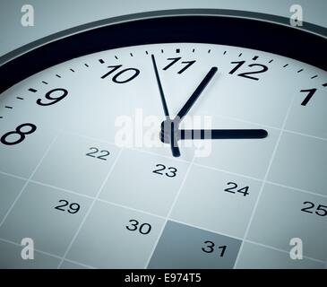 Calendar and clock face. Time manager and agenda concept. - Stock Photo