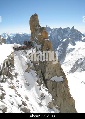 Aiguille du Midi - highest cable car in Europe - Stock Photo