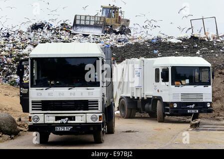 Landfill waste disposal site . UK - Stock Photo