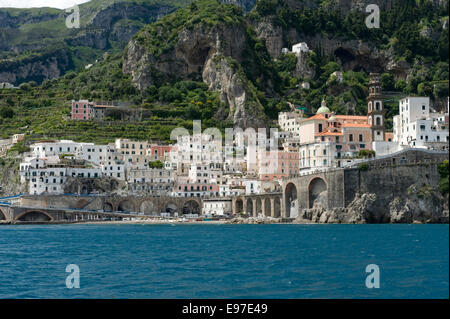 The town of Atrani near Amalfi seen from a boat on the Bay of Salerno, Province of Salerno,  Campania, Italy May - Stock Photo