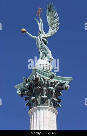 Archangel Gabriel in Heroes' Square in Budapest - Stock Photo