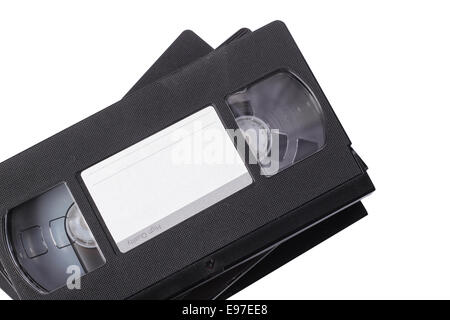 Old, obsolete video cassette vhs on a white background. It is isolated, the worker of paths is present - Stock Photo