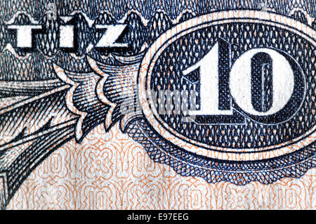 Detail from a 1975 Hungarian 10 (Tiz) Forint banknote showing the number ten and Tiz - Hungarian - Stock Photo