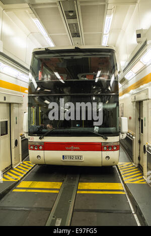 tour bus on eurotunnel between france and england stock photo royalty free image 74539686 alamy. Black Bedroom Furniture Sets. Home Design Ideas