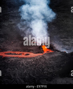Lava and plumes from the Holuhraun Fissure by the Bardarbunga Volcano, Iceland. - Stock Photo