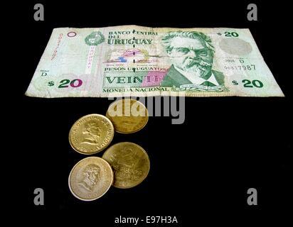 Uruguayan Currency featuring the engraved portrait of the 19th century poet and novelist Juan Zorrilla De San Martin - Stock Photo