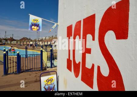 Ice cream sign at the Sutton on Sea Mapleleaf paddling pool. Lincolnshire - Stock Photo