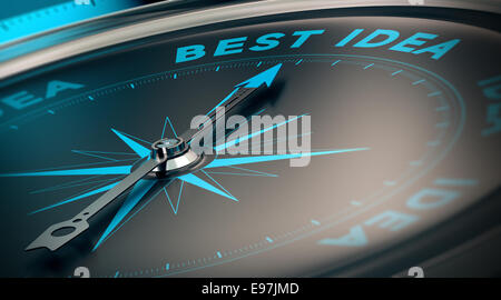 Compass with needle pointing the words best idea, concept image to illustrate vision and business strategy. - Stock Photo
