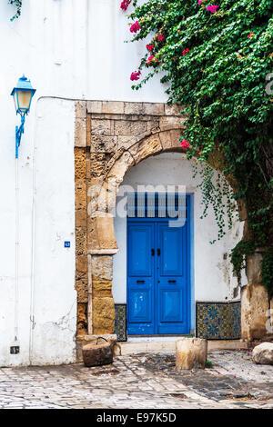 A typical doorway in Sidi Bou Said, Tunisia. - Stock Photo
