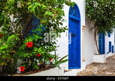 Narrow cobbled street in Sidi Bou Said, Tunisia. - Stock Photo