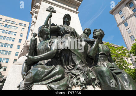 Detail of the Edward VII monument, located at Phillips Square in Montreal, province of Quebec, Canada. - Stock Photo