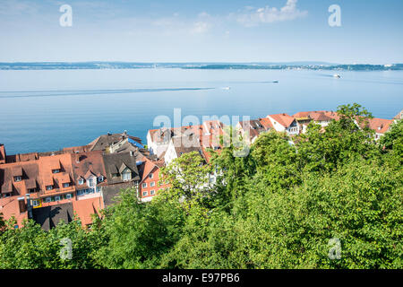 View over the city of Meersburg at the Bodensee (lake constance) in Germany - Stock Photo