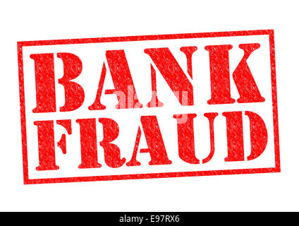BANK FRAUD red Rubber Stamp over a white background. - Stock Photo