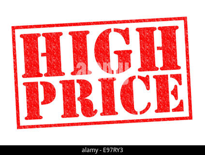 HIGH PRICE red Rubber Stamp over a white background. - Stock Photo