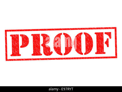 PROOF red Rubber Stamp over a white background. - Stock Photo