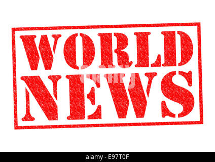 WORLD NEWS red Rubber Stamp over a white background. - Stock Photo