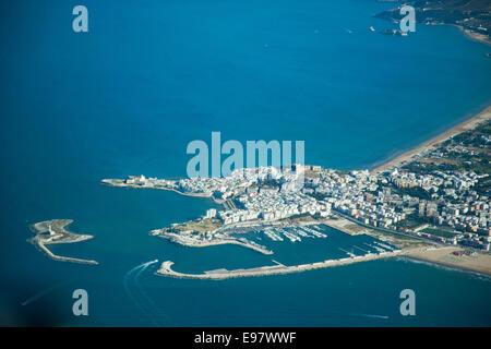 aerial view, vieste village, gargano, foggia province, puglia, italy, europe - Stock Photo