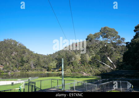 first basin chairlift covering 457 m at cataract gorge,launceston,tasmania,australia, the chairlift was built in - Stock Photo