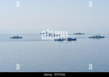 Ships from various countries steam in formation during Sea Breeze 2014 in the Black Sea - Stock Photo