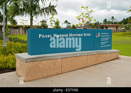 Pearl Harbor Historic Sites sign in Oahu - Stock Photo