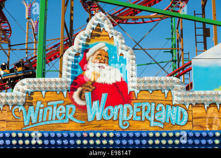 Christmas funfair at Winter Wonderland, Hyde Park, London, England, UK - Stock Photo