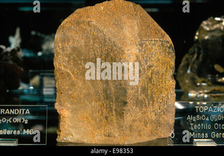 america, brazil, minas gerais, ouro preto, mineralogy museum, white topaz - Stock Photo