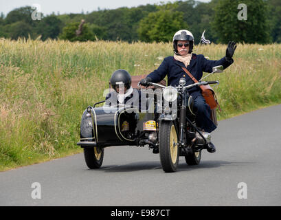 BMW R75 and side car of 1943 in the Tour de Bretagne 2014, France - Stock Photo
