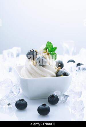 Frozen Blueberry Joghurt Dessert. Fruity Yogurt Dessert with crushed ice cubes around - Stock Photo