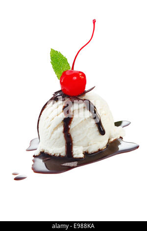 Serving of vanilla icecream with topping of melted hot chocolate sauce and a red cherry isolated on white - Stock Photo