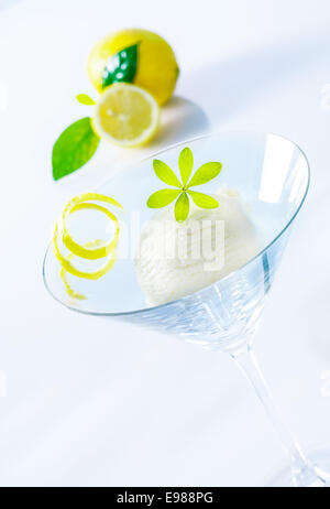 Refreshing lemon sorbet cocktail with zest served as an appetizer in an elegant martini glass - Stock Photo