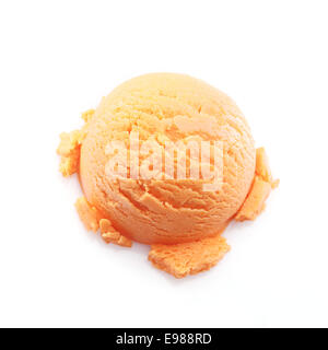 High angle view on a scoop of mango ice cream isolated on white background - Stock Photo