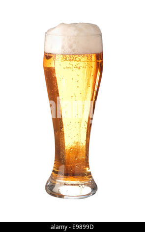 Elegant pint glass of translucent golden frothy beer or ale with a good head and bubbles isolated on white - Stock Photo