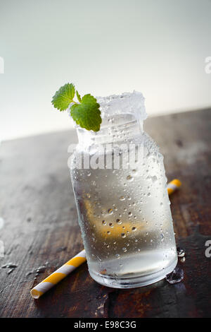 Image of a jar full of water with a small plant in it and a straw on the side. - Stock Photo