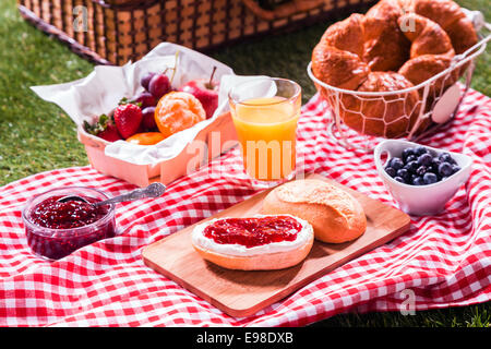 Delicious summer picnic for vegetarians spread out on a red and white checked cloth on the grass with freshly baked - Stock Photo