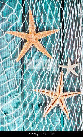 Pretty turquoise blue nautical background with woven diamond pattern fishing net adorned with dried starfish hanging - Stock Photo
