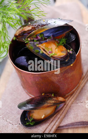 Steamed gourmet marine mussels in a copper pot seasoned with fresh dill for a delicious seafood appetizer - Stock Photo