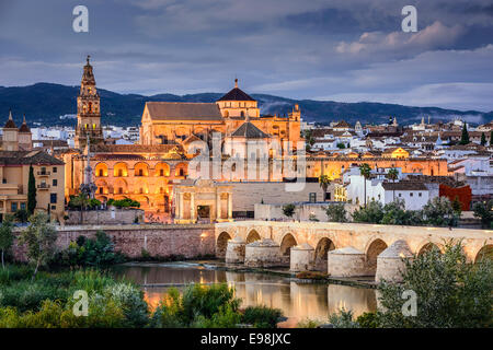 Cordoba, Spain at the Roman Bridge and Town Skyline on the Guadalquivir River. - Stock Photo