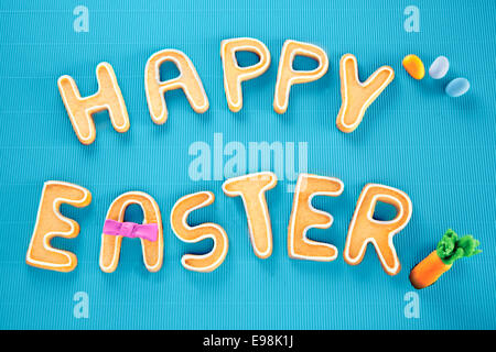 Happy Easter Card On Textured Turquoise. Words HAPPY EASTER on a textured turquoise background, festive card for - Stock Photo