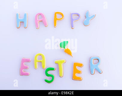 Happy Easter Card On Textured Light Purple. Words HAPPY EASTER on a textured light purple background, festive card - Stock Photo