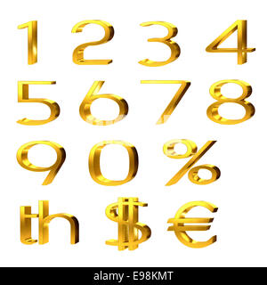3d set of gold numerals, percentage and currency symbols for pound, dollar and euro isolated on white - Stock Photo