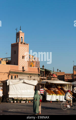 Fruit and spice stalls on the edge of Djemma el-Fna market square in Marrakech, Morocco, North Africa - Stock Photo